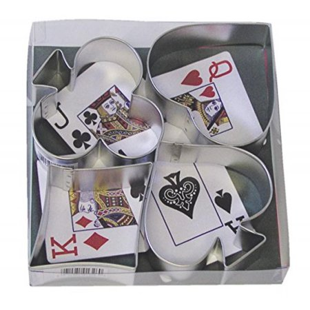R & M Ace, Club, Diamond Heart Suit 4 Piece Cookie Cutter Set with Gift (Fall Cookie Gift Box)
