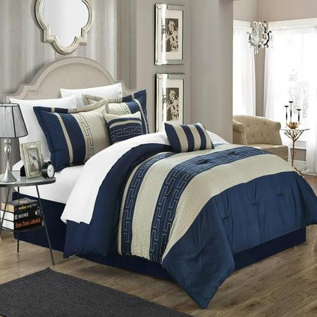Carlton Navy & Almond 6 Piece Comforter Bed In A Bag Set