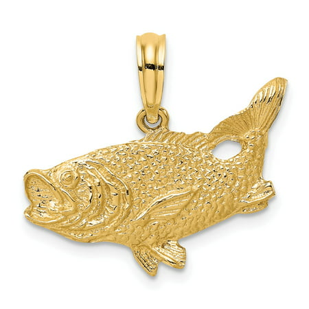 14k Yellow Gold 2-D Bass Fish and Tail Up Charm Pendant