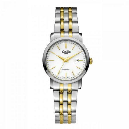 Roamer Women's Quartz Analog Display Silver Case White Dial Two Tone Gold Bracelet 709844472570