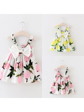Pretty Baby Infant Girls Floral Bowknot Summer Lemon Dress Sundress Clothes 0-3T