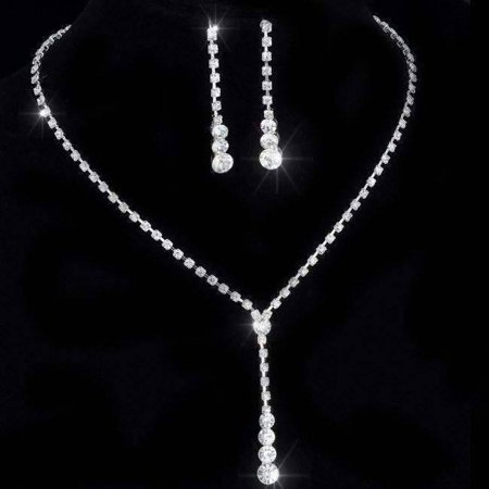 - ON SALE - Rhinestone Lariat Choker Necklace and Earring Set Silver