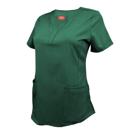 M&M SCRUBS Women's Ultra Soft Stretch Drop-Neck 2 Pocket Scrub Top 8200 (Hunter Green, Medium)