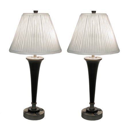 pair of black brass finish modern dual light table lamp w power outlets. Black Bedroom Furniture Sets. Home Design Ideas