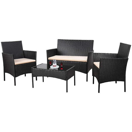 Walnew 4 PCS Outdoor Patio Furniture Black PE Rattan Wicker Table and Chairs Set Bar Balcony Backyard Garden Porch Sets with Cushioned Tempered Glass (Beige)
