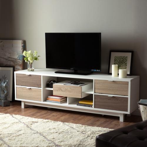 Furniture Of America Dekisa Mid Century White 70 Inch Tv Stand By