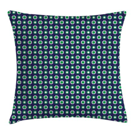 - Navy Blue Decor Throw Pillow Cushion Cover, Cute Floral and Point Design with Green Round Abstract Pattern, Decorative Square Accent Pillow Case, 18 X 18 Inches, Navy Green and White, by Ambesonne