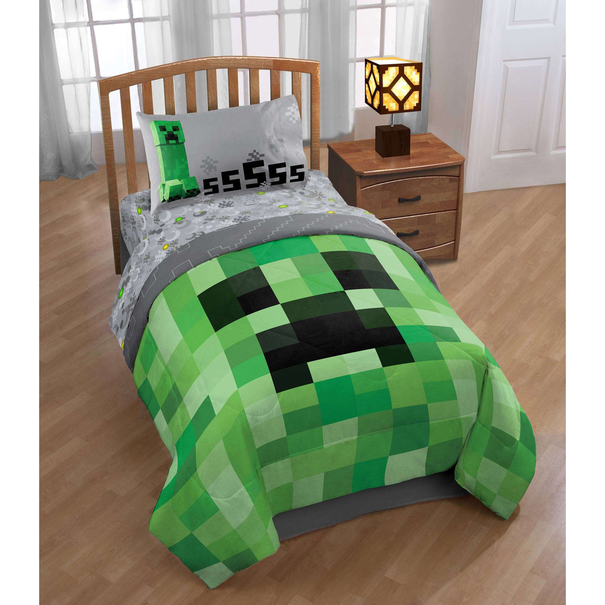 Minecraft Room Bundle- Comes with Minecraft Comforter, Minecraft Sheet Set and Minecraft Throw
