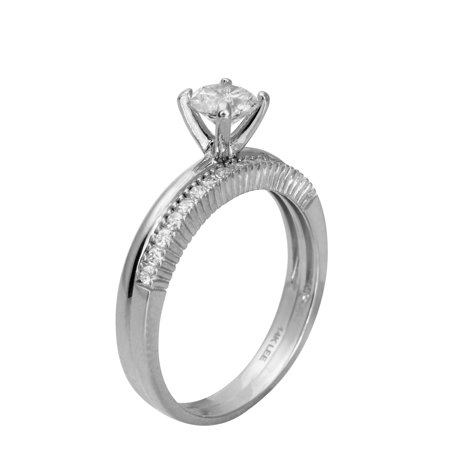 - 1.00 Ct 14K Real White Gold Round Cut Ring with Matching Band Round Pave Set Stones Engagement Wedding Propose Promise Ring Band Duo Set