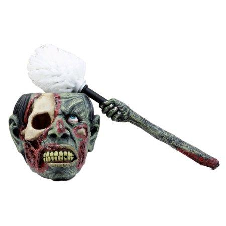 Ebros Gift Walking Dead Zombie Hand Toilet Bowl Brush & Zombie Head Toilet Bowl Brush Holder Set Decorative Figurine 14