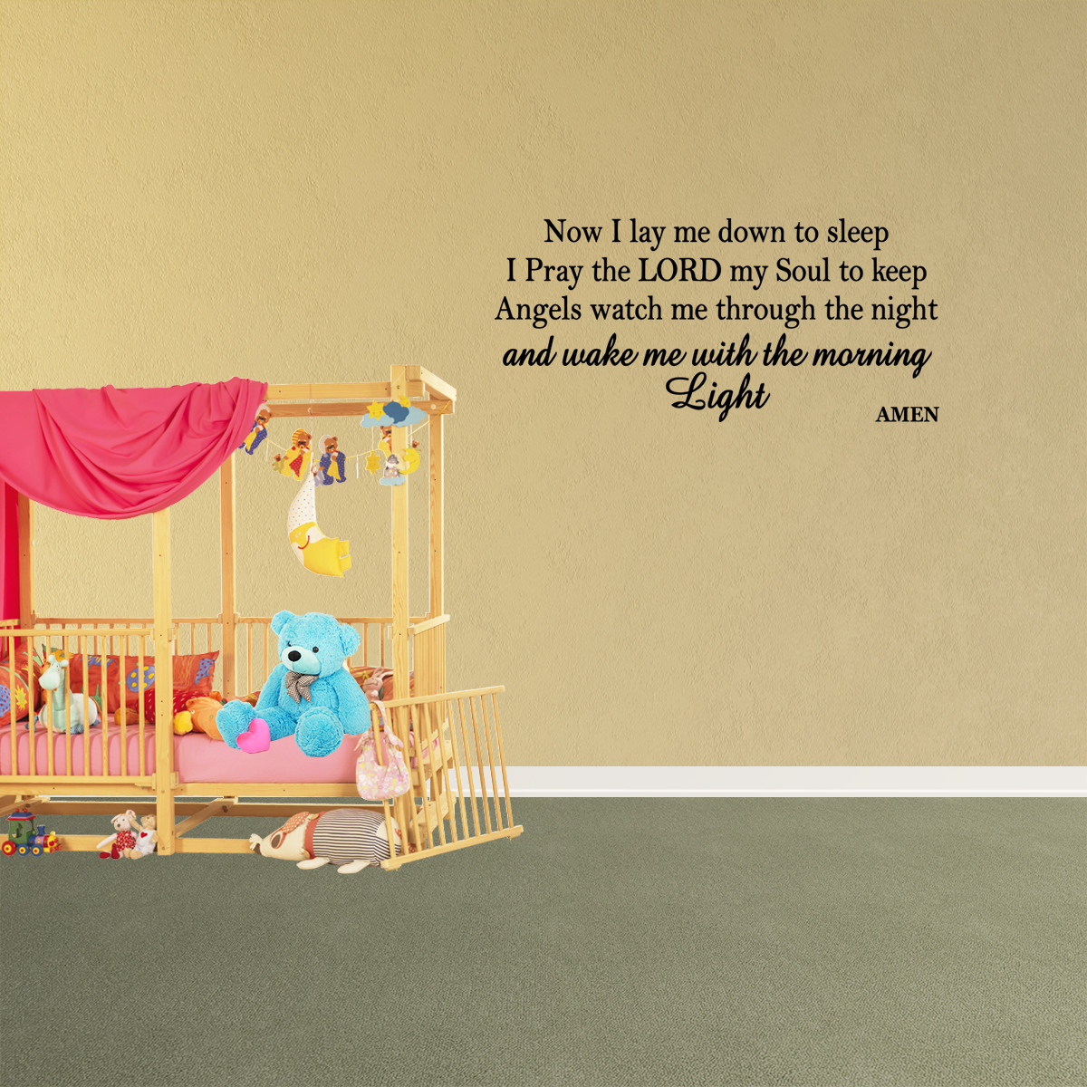Wall Decal Quote Now I Lay Me Down To Sleep I Pray The Lord My Soul ...