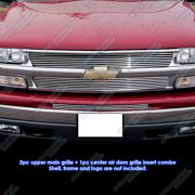 Compatible with 99-02 Chevy Silverado 00-06 Tahoe Billet Grille Combo C61010A