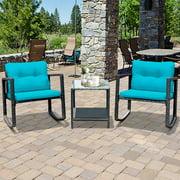 3PCS Ensemble d'une table et de fauteuil à bascule en rotin avec coussins de marque Gymax