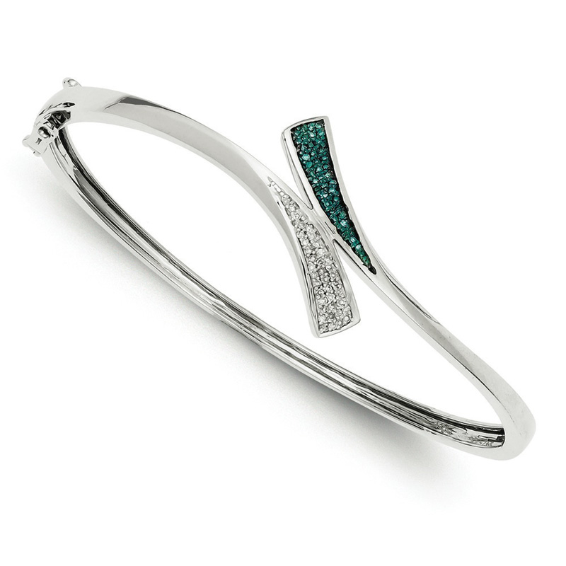 Sterling Silver Blue and White Diamond Bangle Bracelet .20 dwt by Kevin Jewelers
