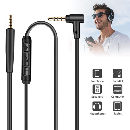 TSV 3.5mm Audio Cable (4.9ft /1.5m), Audio Auxiliary Input Adapter Male to Male AUX Replacement Cord for Bose QC25, QC35, Beats Headphones, iPods, iPhones, iPads, Home / Car Stereos and More (Black) Auxiliary Input Adapter Pie