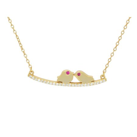 Fronay 111210G 16 & 2 in. Sparkling Cz Love Birds Necklace in Gold Plated Sterling Silver - image 1 of 1