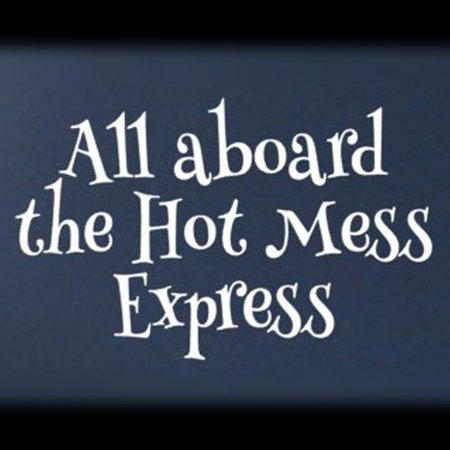 All Aboard the Hot Mess Express Vinyl Cut Decal With No Background | 5.5 Inch White Decal | Car Truck Van Wall Laptop Cup