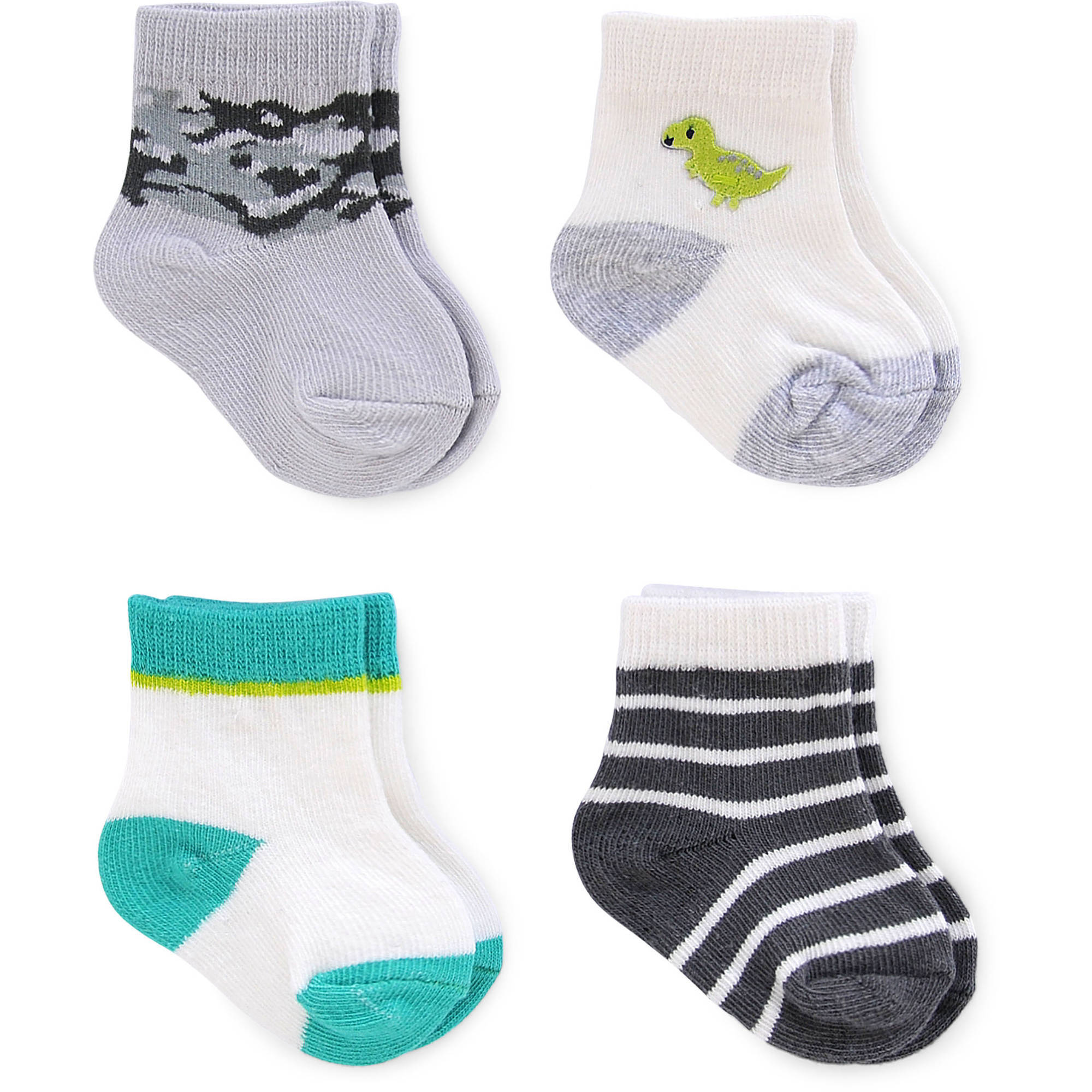 Child of Mine by Carter's Newborn Baby Boy Camo and Dinosaur Computer Crew Socks, 4 Pack