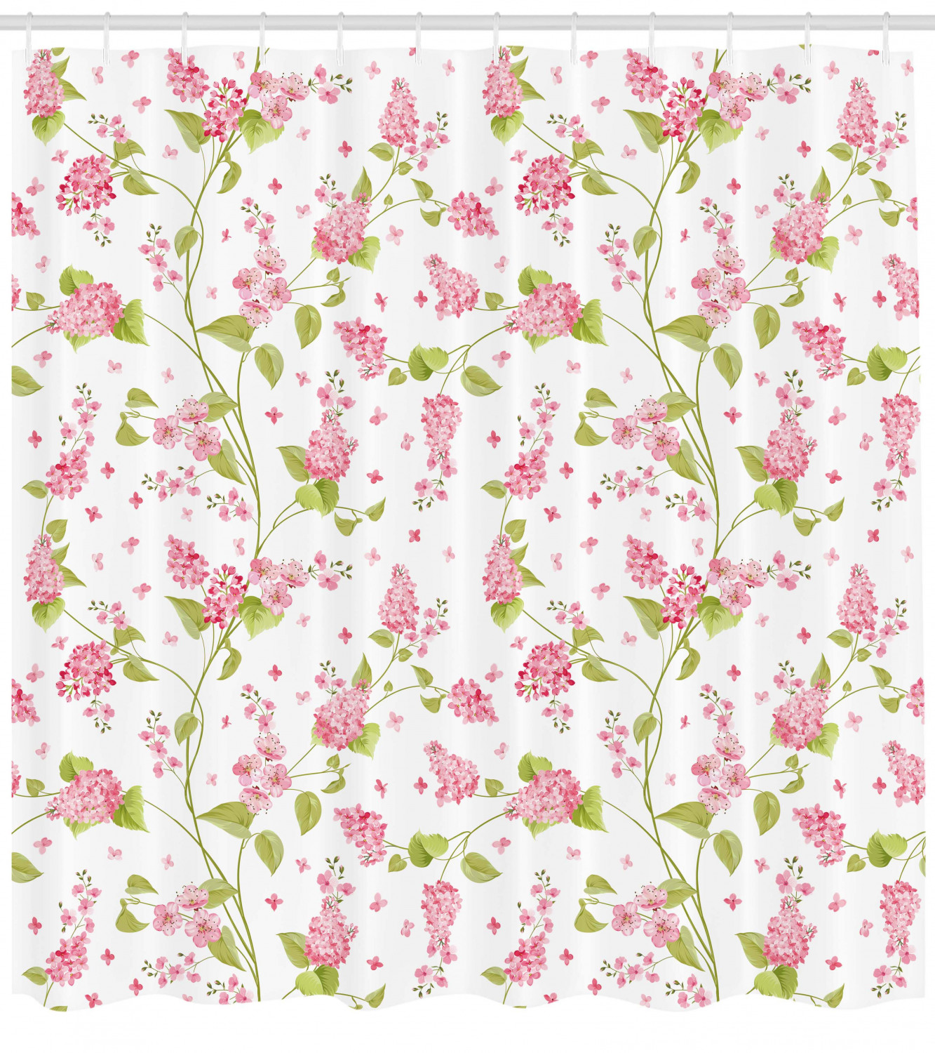 Shabby Chic Shower Curtain Nature Blossoms Buds Flowers Lavenders Florals Leaves Ivy Artwork Fabric Bathroom Set With Hooks 69w X 70l Inches Pink