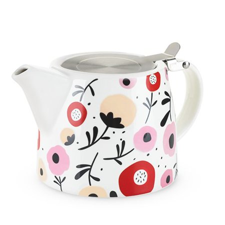 Teapot, Posy Pattern Ceramic Small Cute Infuser Teapot With Lid, White