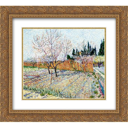 Vincent van Gogh 2x Matted 24x20 Gold Ornate Framed Art Print 'Orchard with Peach Trees in Blossom ' (Orchard Tree)