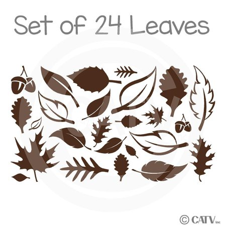 Set of 24 Fall Leaves wall saying vinyl lettering art decal quote sticker home decal - Fall Sayings