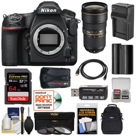Nikon D850 Wi-Fi 4K Digital SLR Camera Body with 24-70mm f/2.8E VR Lens + 64GB Card + Battery + Charger + Case + GPS + 3 Filters Kit ()