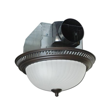 Air King AKLC701 Decorative Quiet Round Bathroom Fan w/ Moonstone Light,