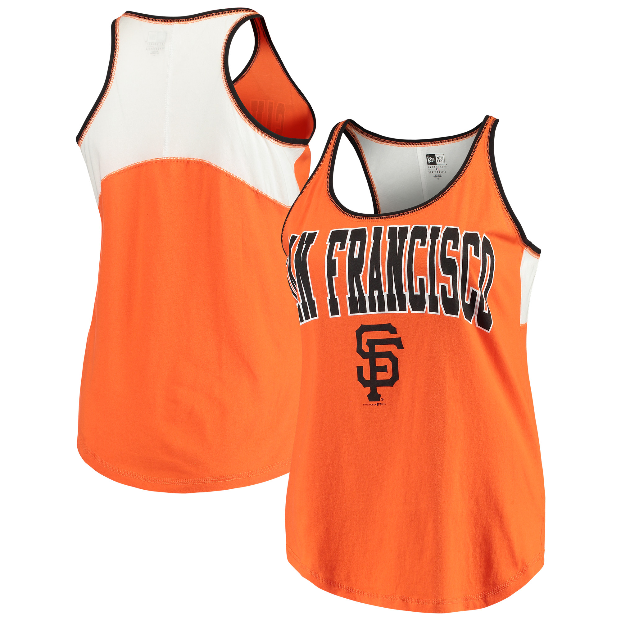 San Francisco Giants 5th & Ocean by New Era Women's Plus Size Baby Jersey Racerback Tank Top - Orange