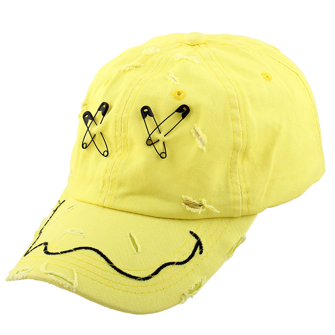 Unisex Metal X Letter Decor Outdoor Sports Golf Baseball Peaked Hat Cap Yellow