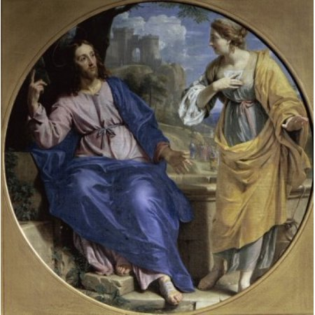 The Samaritan Woman (at the Well)  (La Samaritain ) 1648  Philippe de Champaigne (1602-1674French)  Musee des Beaux-Arts Caen Stretched Canvas - Philippe de Champaigne (18 x
