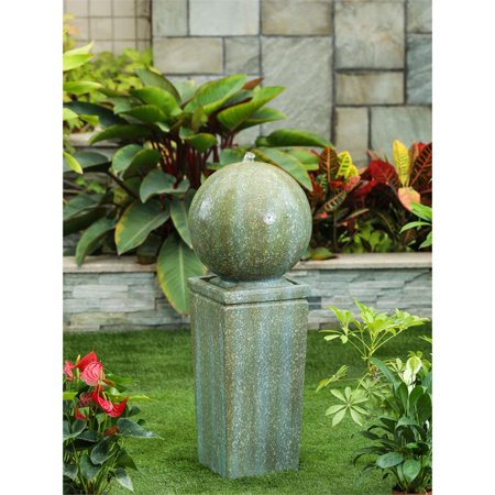 Stone and Patina Finish Sphere on Pillar 34.5in. H Fountain
