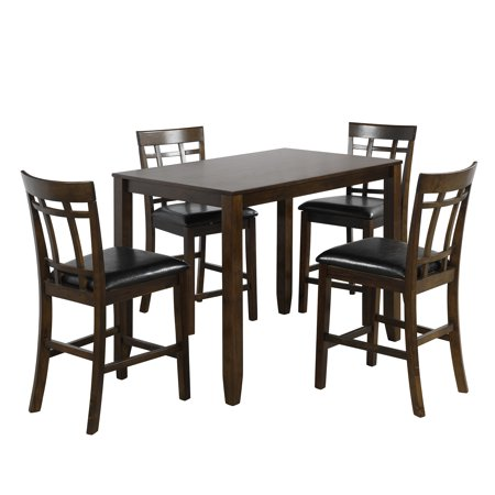 5 Piece Dining Table Sets 4 Counter Height Chairs, Wood Veneer Acacia Frames Rectangular Breakfast Dinette Set with Thick Squared Legs & Black Finish Frame, for Apartment or Breakfast Nook, S1546