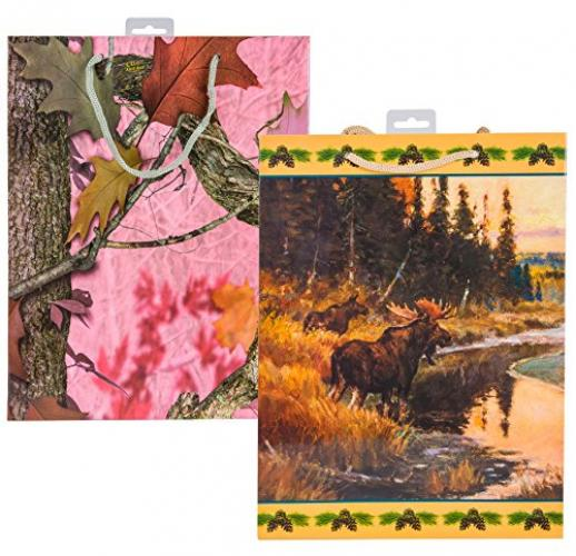River's Edge Gift Bags for the Outdoor Enthusiast Moose with Pink Camo