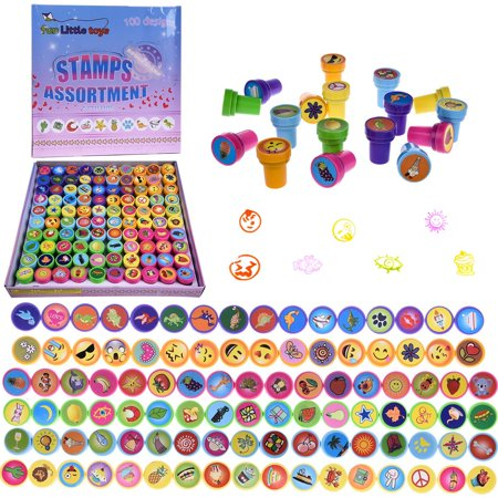 Self-ink Stamps Chrismas Party Favor Box for Birthday Party Supply, Pinata Toy, Carnival Prizes, Goodie Bags, Easter Egg Fillers,Classroom Reward 100 PCs