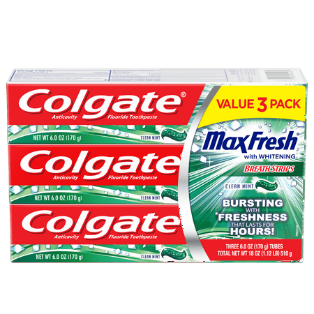 Fresh Cut Mint (Colgate Max Fresh Toothpaste with Breath Strips, Clean Mint - 6.0 oz (3 Pack) )