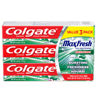 Colgate Max Fresh Toothpaste with Mini Breath Strips, Clean Mint - 6 Ounce (3 Pack)