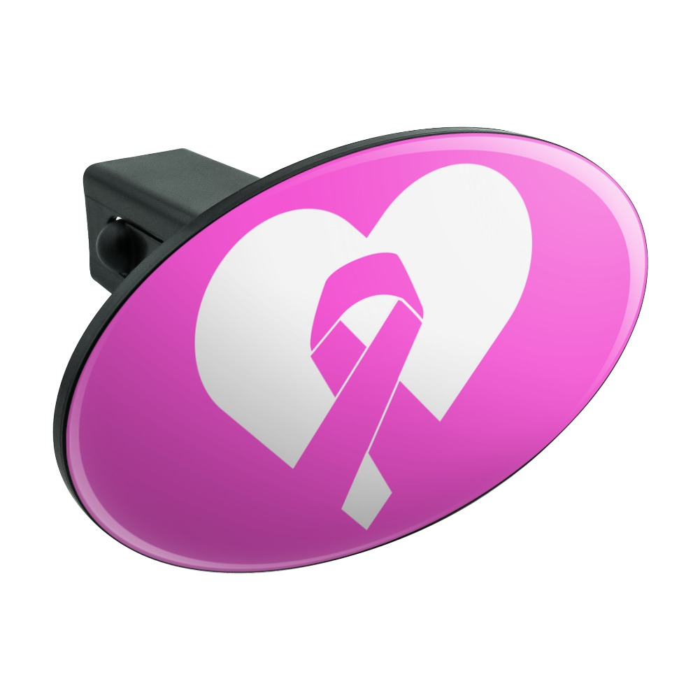 """Breast Cancer Awareness Pink Ribbon in Heart Oval Tow Hitch Cover Trailer Plug Insert 1 1/4 inch (1.25"""")"""