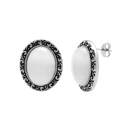 Women's Stainless Steel Vintage White Glass Stud -