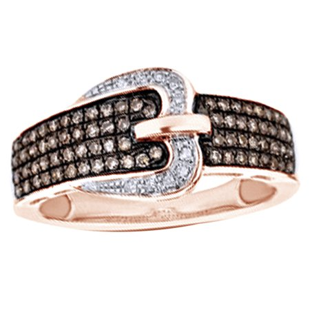 Champagne & White Natural Diamond Buckle Ring in 10k Rose Gold