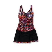 Profile Womens Aztec Ruched Skirt 2 Piece Tankini