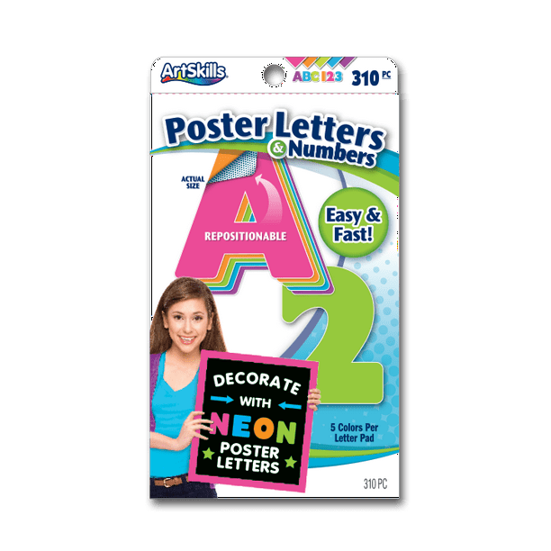 "Artskills Neon Multi-Color Quick Letters & Numbers, 2"", 310pc"