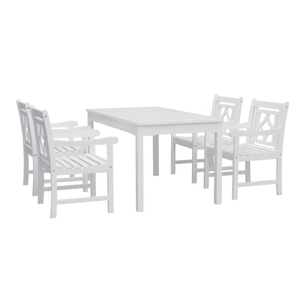Vifah Bradley Outdoor Patio Dining Set 4 Seater Acacia Wood With Classic Table And 4 Diamond Chairs Walmart Com Walmart Com