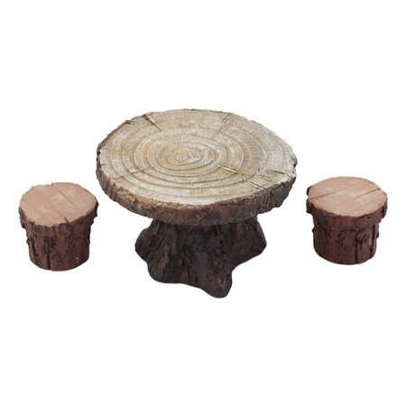 Ebros Enchanted Fairy Garden Miniature Tree Stump Table And 2 Stool Chairs Statues Cottage Garden Mini Figurines Set Whimsical Gardens Do It Yourself Ideas For Your Home ()