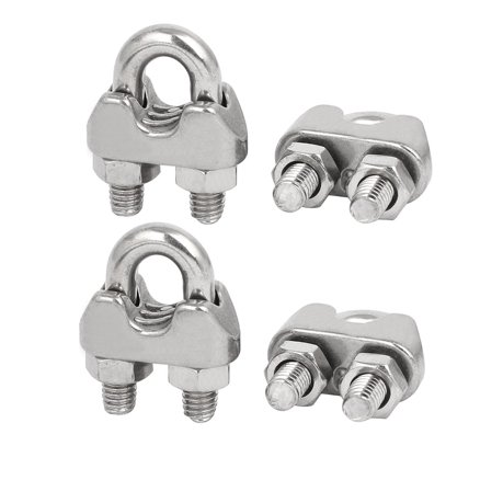 M6 1/4 Inch 304 Stainless Steel Saddle Clamps Cable Wire Rope Clips 4PCS