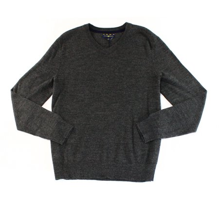 Club Room NEW Ebony Heather Gray Mens Size Small S V-Neck Wool Sweater Gray Wool V-neck Sweater