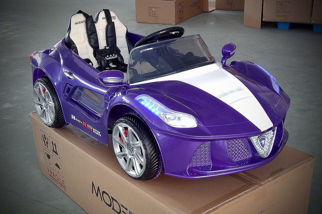 Ferrari Spider Style Kids Ride-On Car MP3 12V Battery Power Wheels R C Parental Remote   Purple by