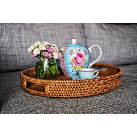 Artifacts Trading Company Rattan Medium Oval Tray with Cutout Handles, 18 L x 15 W x 2 H