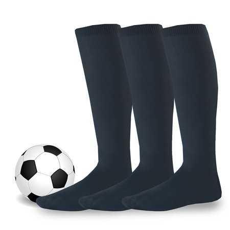Soxnet Cotton Unisex Soccer Sports Team Socks 3 Pack ( (7-9), Black)