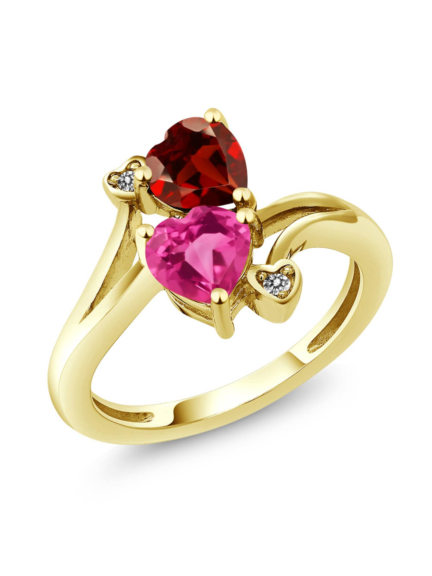 1.88 Ct Pink Mystic Topaz Red Garnet 18K Yellow Gold Plated Silver Ring by